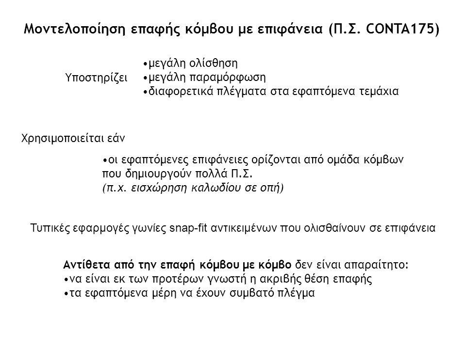 Τυπικές εφαρμογές γωνίες snap-fit αντικειμένων που ολισθαίνουν σε επιφάνεια Μοντελοποίηση επαφής κόμβου με επιφάνεια (Π.Σ. CONTA175) Υποστηρίζει μεγάλ