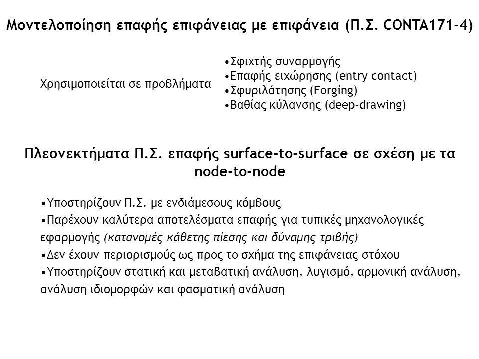 Μοντελοποίηση επαφής επιφάνειας με επιφάνεια (Π.Σ. CONTA171-4) Πλεονεκτήματα Π.Σ. επαφής surface-to-surface σε σχέση με τα node-to-node Υποστηρίζουν Π