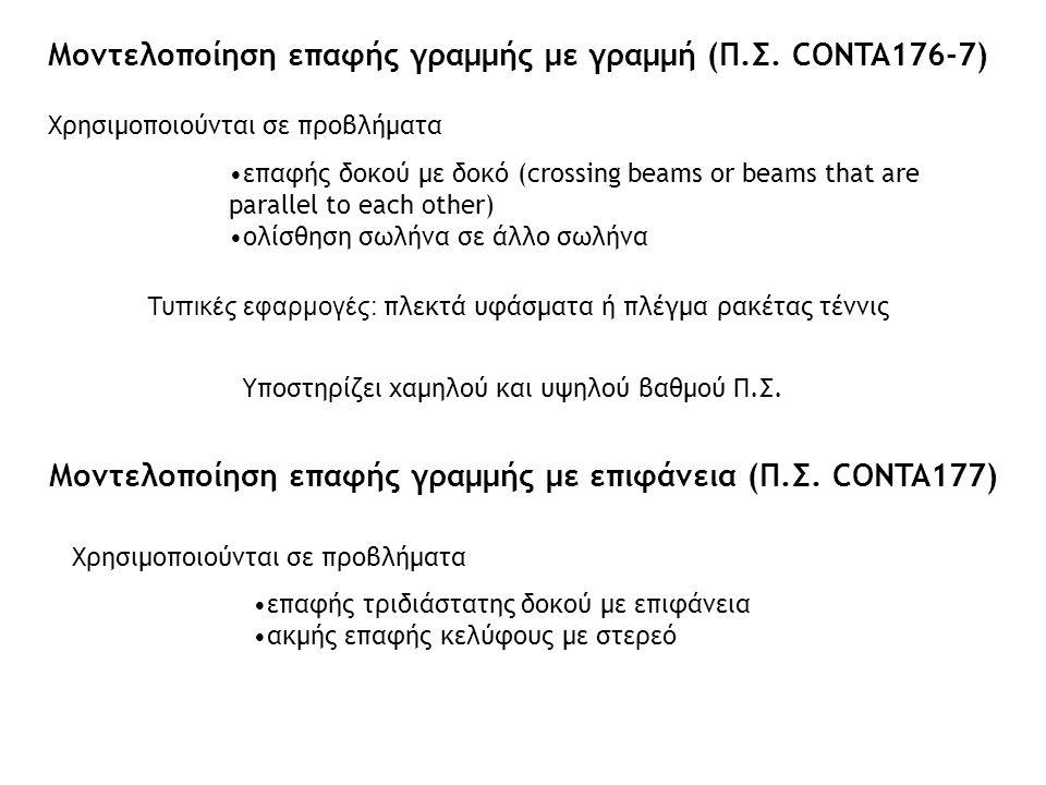 Γραφικό εργαλείο ορισμού προβλήματος επαφής Contact manager Επιτρέπει τον ορισμό, την επισκόπηση και την επεξεργασία ζευγών επαφής Ελέγχεται από το αντίστοιχο εικονίδιο στο γραφικό περιβάλλον του ANSYS από το menu Preprocessor> Modeling> Create> Contact Pair Υποστηρίζει αναλύσεις surface-to-surface contact node-to-surface contact (με CONTA175) internal multipoint constraint (MPC)