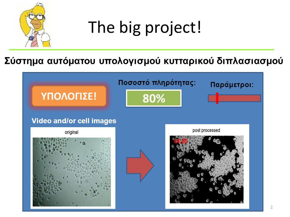 The big project. 2 Ποσοστό πληρότητας: 80% Παράμετροι: ΥΠΟΛΟΓΙΣΕ.