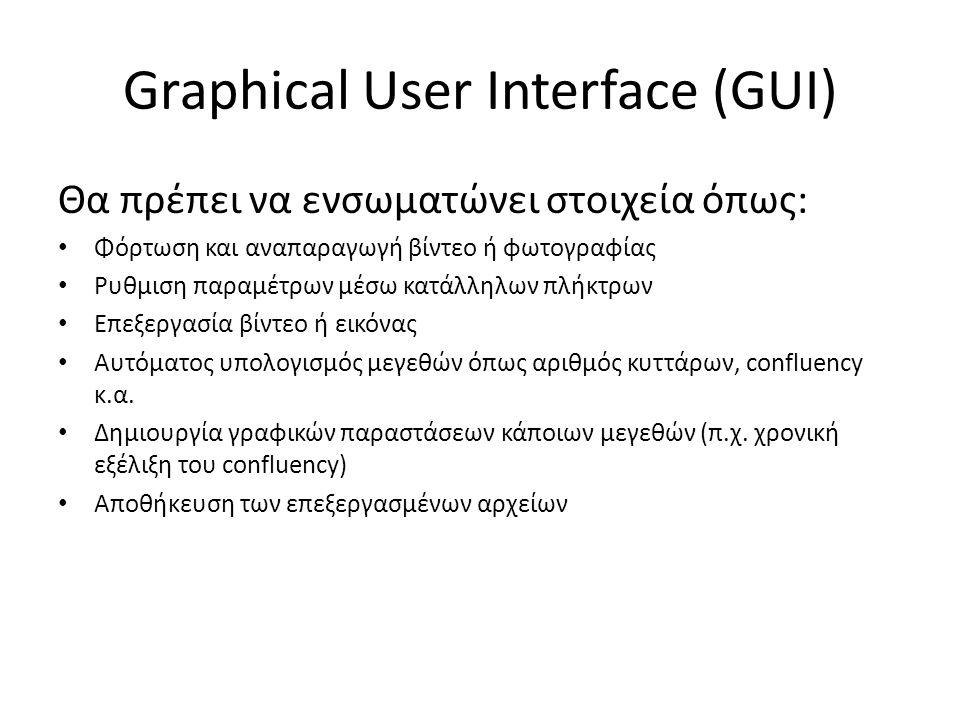 Graphical User Interface (GUI) Θα πρέπει να ενσωματώνει στοιχεία όπως: Φόρτωση και αναπαραγωγή βίντεο ή φωτογραφίας Ρυθμιση παραμέτρων μέσω κατάλληλων πλήκτρων Επεξεργασία βίντεο ή εικόνας Αυτόματος υπολογισμός μεγεθών όπως αριθμός κυττάρων, confluency κ.α.