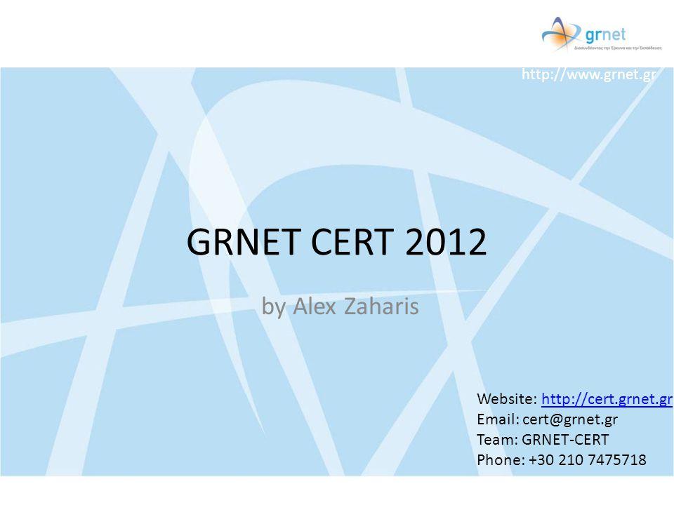 http://www.grnet.gr GRNET CERT 2012 by Alex Zaharis Website: http://cert.grnet.grhttp://cert.grnet.gr Email: cert@grnet.gr Team: GRNET-CERT Phone: +30
