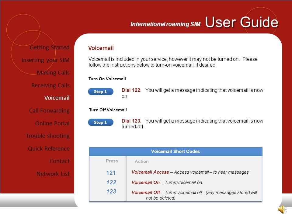 User Guide International roaming SIM 121 122 123 Press Voicemail Short Codes Voicemail Access – Access voicemail – to hear messages Voicemail On – Turns voicemail on.