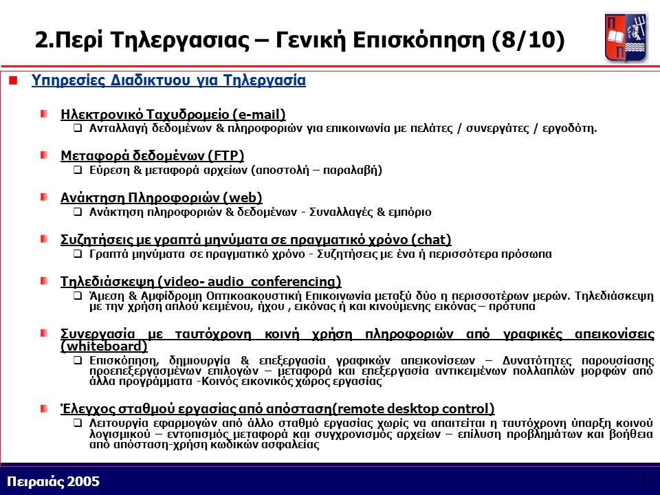 Athens 9/1/2004 Miltiadis D. Lytras Πειραιάς 2005 12 2.Περί Τηλεργασιας – Γενική Επισκόπηση (8/10) Υπηρεσίες Διαδικτυου για Τηλεργασία Ηλεκτρονικό Ταχ