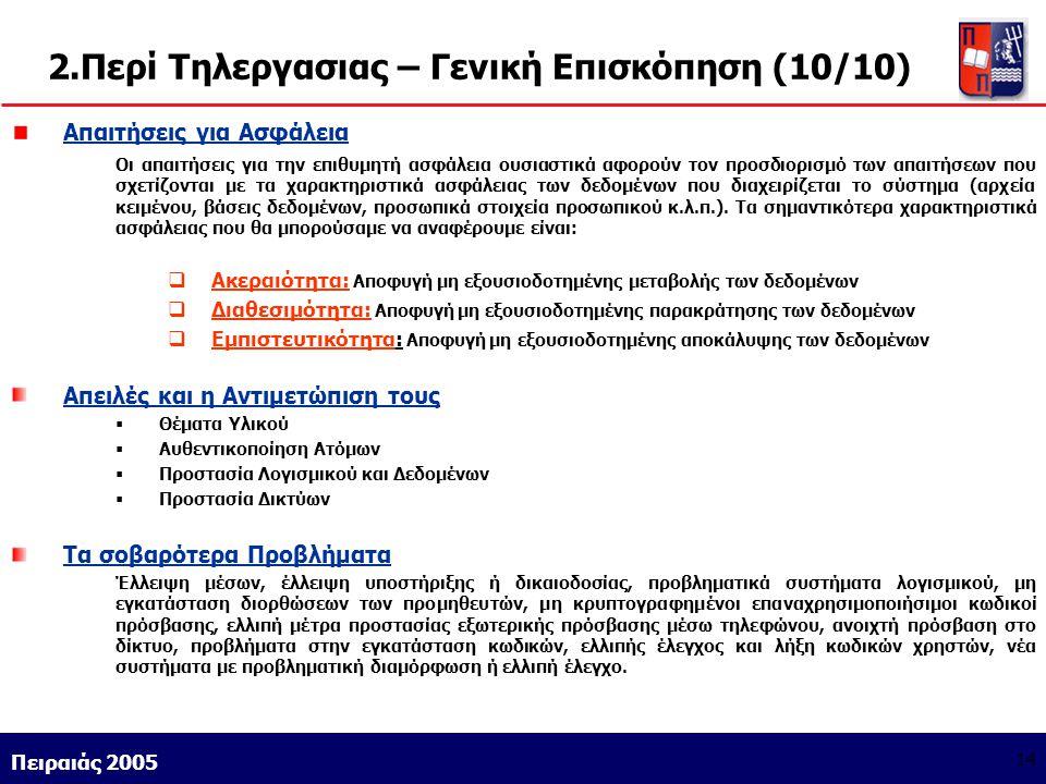 Athens 9/1/2004 Miltiadis D. Lytras Πειραιάς 2005 14 2.Περί Τηλεργασιας – Γενική Επισκόπηση (10/10) Απαιτήσεις για Ασφάλεια Οι απαιτήσεις για την επιθ