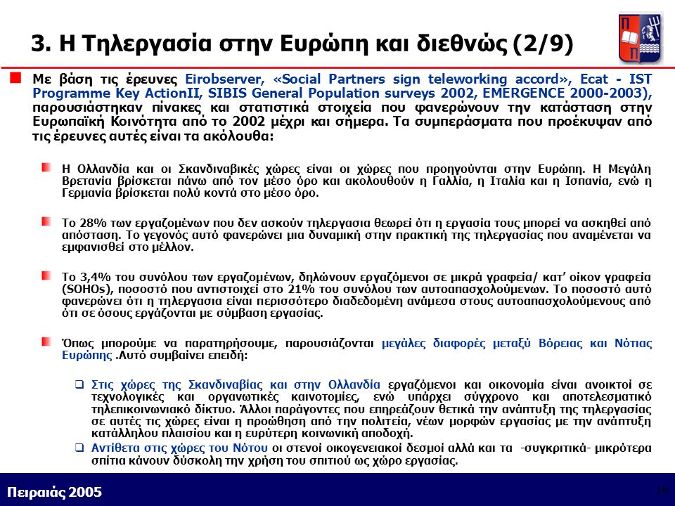 Athens 9/1/2004 Miltiadis D. Lytras Πειραιάς 2005 16 3. Η Τηλεργασία στην Ευρώπη και διεθνώς (2/9) Με βάση τις έρευνες Eirobserver, «Social Partners s