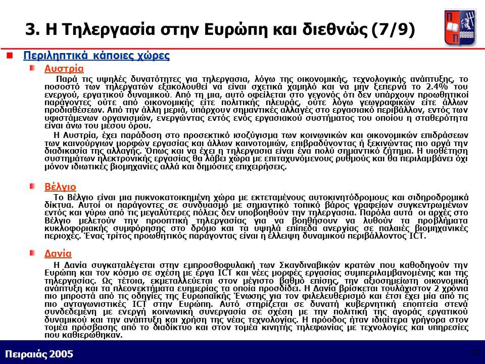 Athens 9/1/2004 Miltiadis D. Lytras Πειραιάς 2005 21 3. Η Τηλεργασία στην Ευρώπη και διεθνώς (7/9) Περιληπτικά κάποιες χώρες Αυστρία Παρά τις υψηλές δ