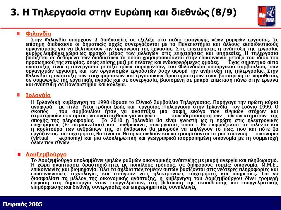 Athens 9/1/2004 Miltiadis D. Lytras Πειραιάς 2005 22 3. Η Τηλεργασία στην Ευρώπη και διεθνώς (8/9) Φιλανδία Στην Φιλανδία υπάρχουν 2 διαδικασίες σε εξ