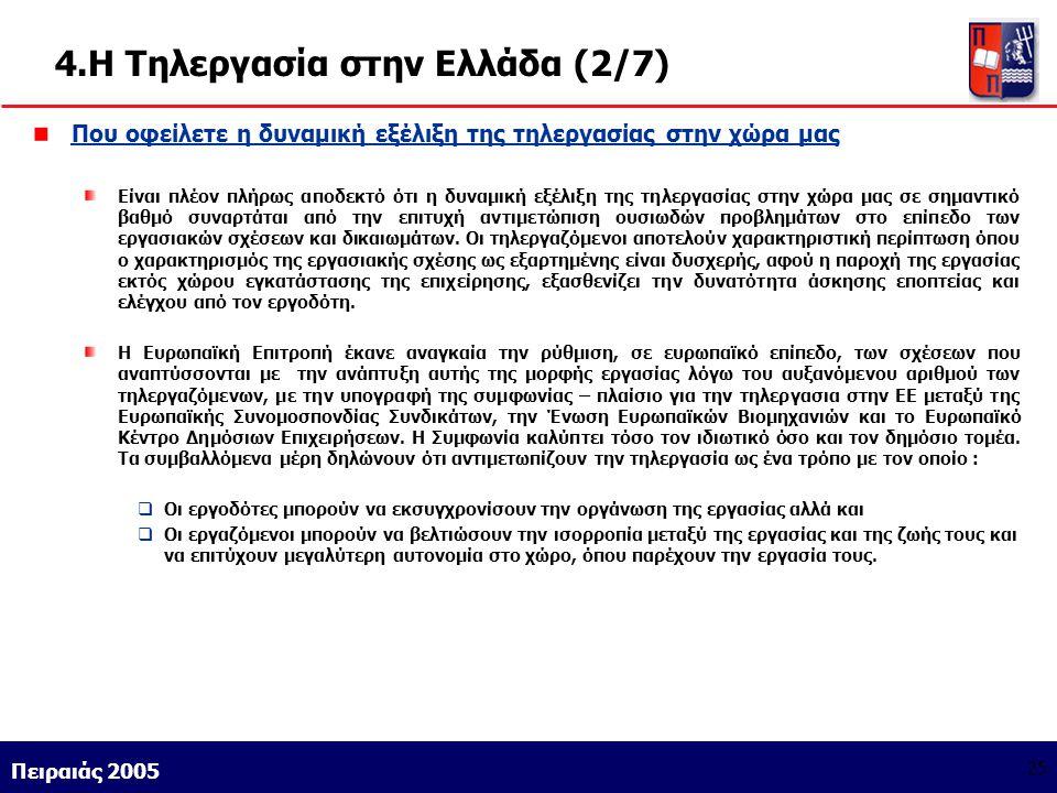 Athens 9/1/2004 Miltiadis D. Lytras Πειραιάς 2005 25 4.Η Τηλεργασία στην Ελλάδα (2/7) Που οφείλετε η δυναμική εξέλιξη της τηλεργασίας στην χώρα μας Εί