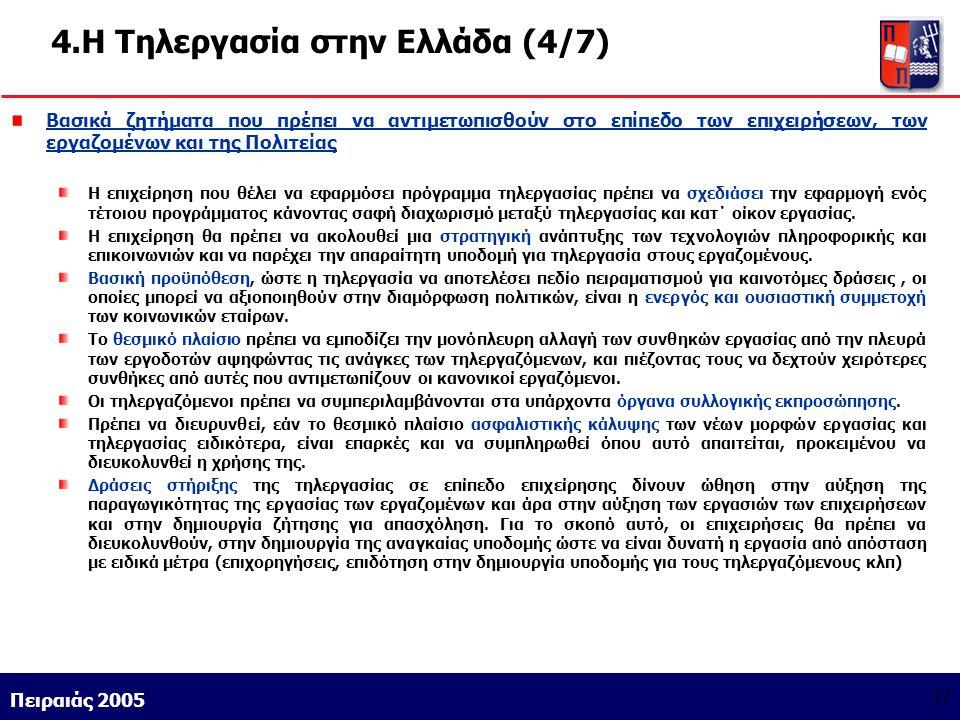 Athens 9/1/2004 Miltiadis D. Lytras Πειραιάς 2005 27 4.Η Τηλεργασία στην Ελλάδα (4/7) Βασικά ζητήματα που πρέπει να αντιμετωπισθούν στο επίπεδο των επ