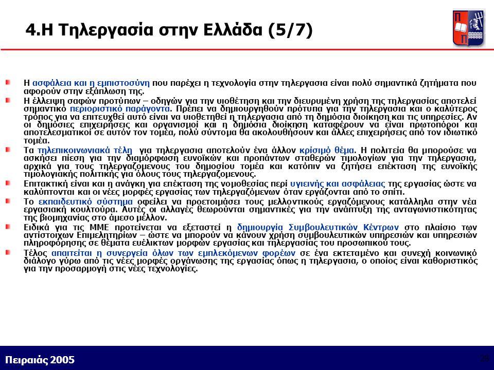 Athens 9/1/2004 Miltiadis D. Lytras Πειραιάς 2005 28 4.Η Τηλεργασία στην Ελλάδα (5/7) Η ασφάλεια και η εμπιστοσύνη που παρέχει η τεχνολογία στην τηλερ