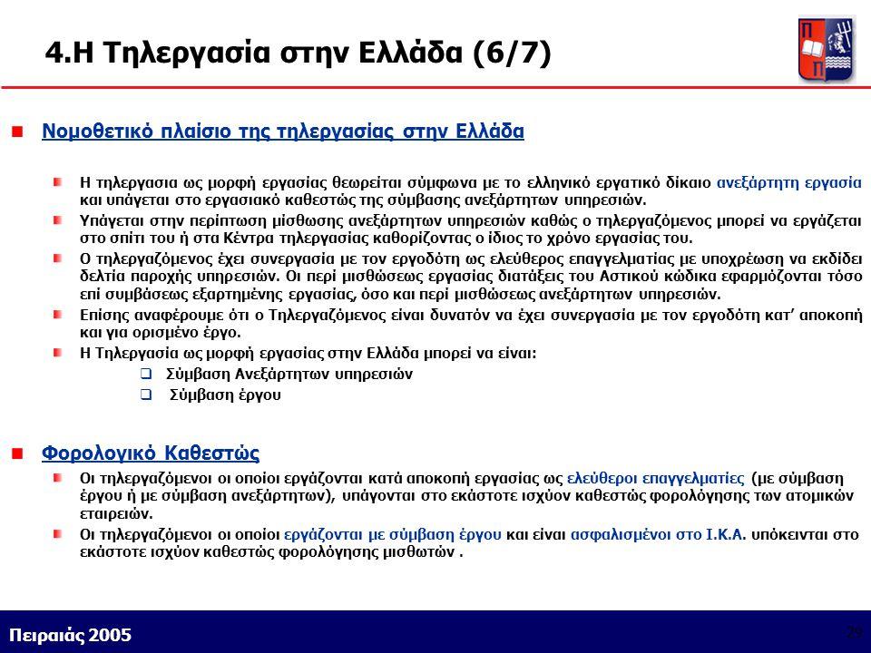 Athens 9/1/2004 Miltiadis D. Lytras Πειραιάς 2005 29 4.Η Τηλεργασία στην Ελλάδα (6/7) Νομοθετικό πλαίσιο της τηλεργασίας στην Ελλάδα Η τηλεργασια ως μ