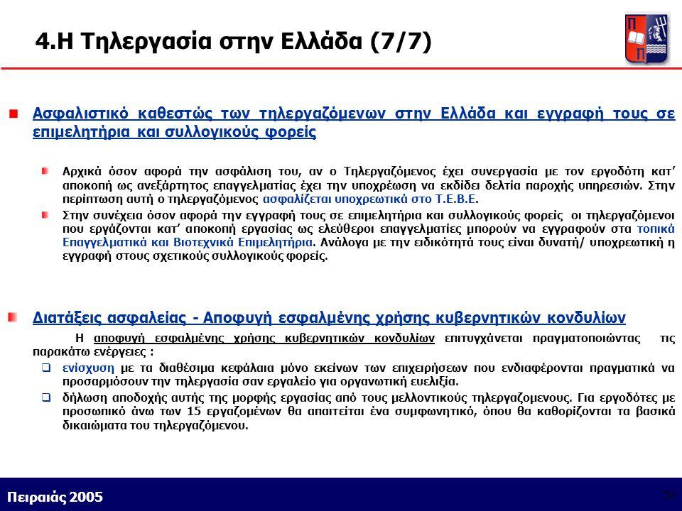 Athens 9/1/2004 Miltiadis D. Lytras Πειραιάς 2005 30 4.Η Τηλεργασία στην Ελλάδα (7/7) Ασφαλιστικό καθεστώς των τηλεργαζόμενων στην Ελλάδα και εγγραφή