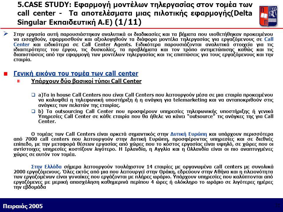 Athens 9/1/2004 Miltiadis D. Lytras Πειραιάς 2005 31 5.CASE STUDY: Εφαρμογή μοντέλων τηλεργασίας στον τομέα των call center - Τα αποτελέσματα μιας πιλ