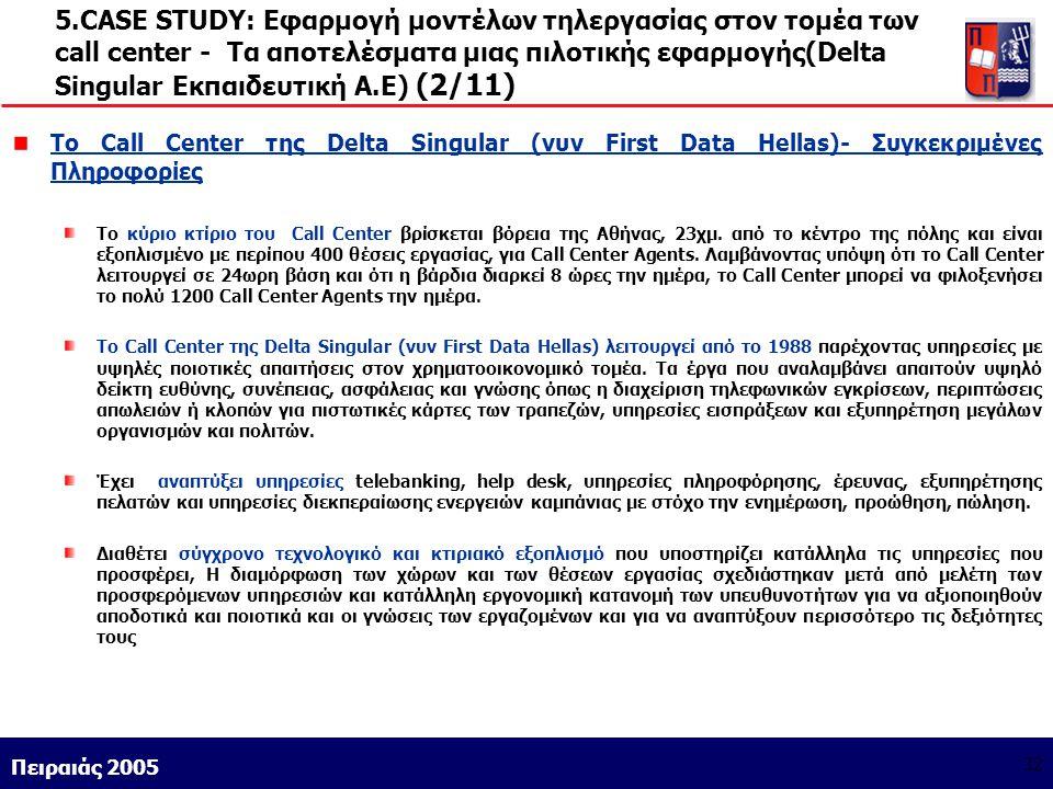 Athens 9/1/2004 Miltiadis D. Lytras Πειραιάς 2005 32 5.CASE STUDY: Εφαρμογή μοντέλων τηλεργασίας στον τομέα των call center - Τα αποτελέσματα μιας πιλ