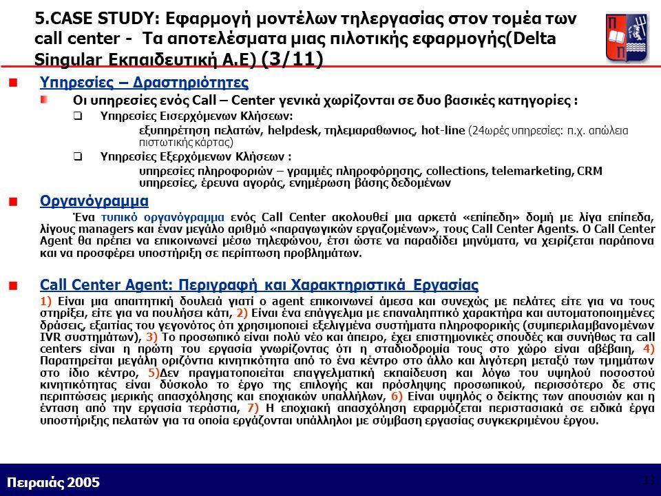 Athens 9/1/2004 Miltiadis D. Lytras Πειραιάς 2005 33 5.CASE STUDY: Εφαρμογή μοντέλων τηλεργασίας στον τομέα των call center - Τα αποτελέσματα μιας πιλ