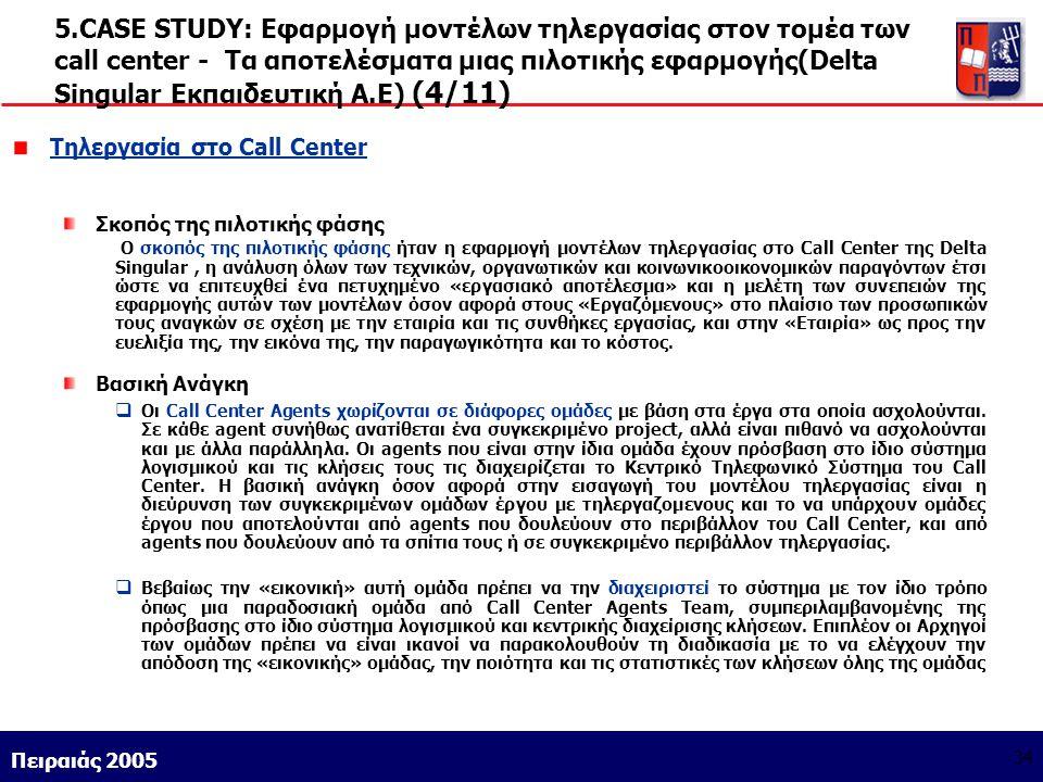Athens 9/1/2004 Miltiadis D. Lytras Πειραιάς 2005 34 5.CASE STUDY: Εφαρμογή μοντέλων τηλεργασίας στον τομέα των call center - Τα αποτελέσματα μιας πιλ