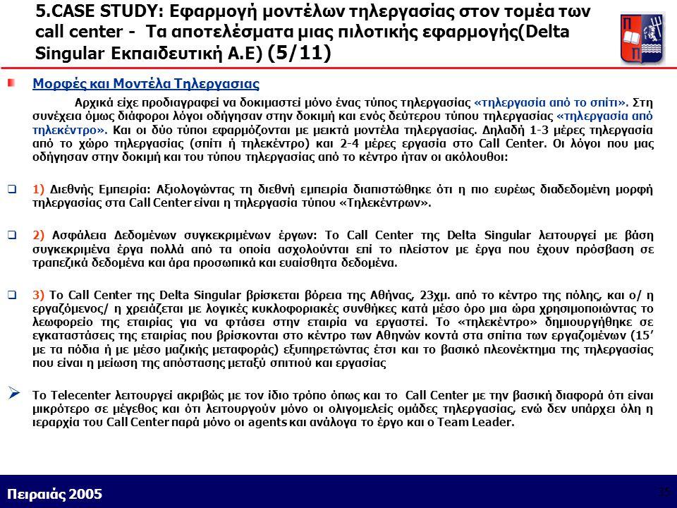 Athens 9/1/2004 Miltiadis D. Lytras Πειραιάς 2005 35 5.CASE STUDY: Εφαρμογή μοντέλων τηλεργασίας στον τομέα των call center - Τα αποτελέσματα μιας πιλ