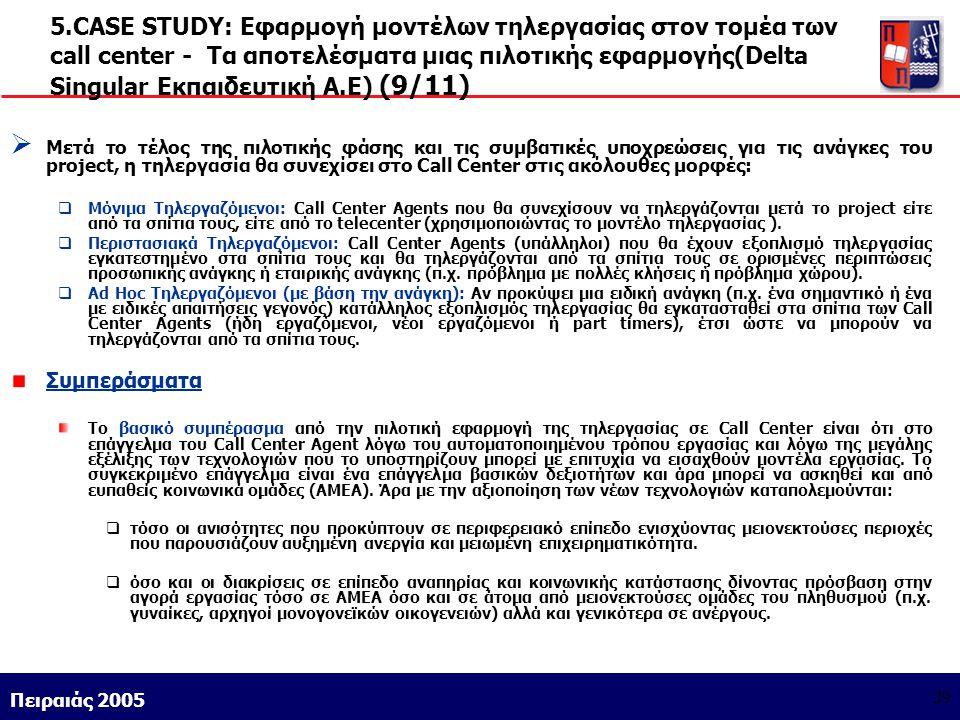 Athens 9/1/2004 Miltiadis D. Lytras Πειραιάς 2005 39 5.CASE STUDY: Εφαρμογή μοντέλων τηλεργασίας στον τομέα των call center - Τα αποτελέσματα μιας πιλ