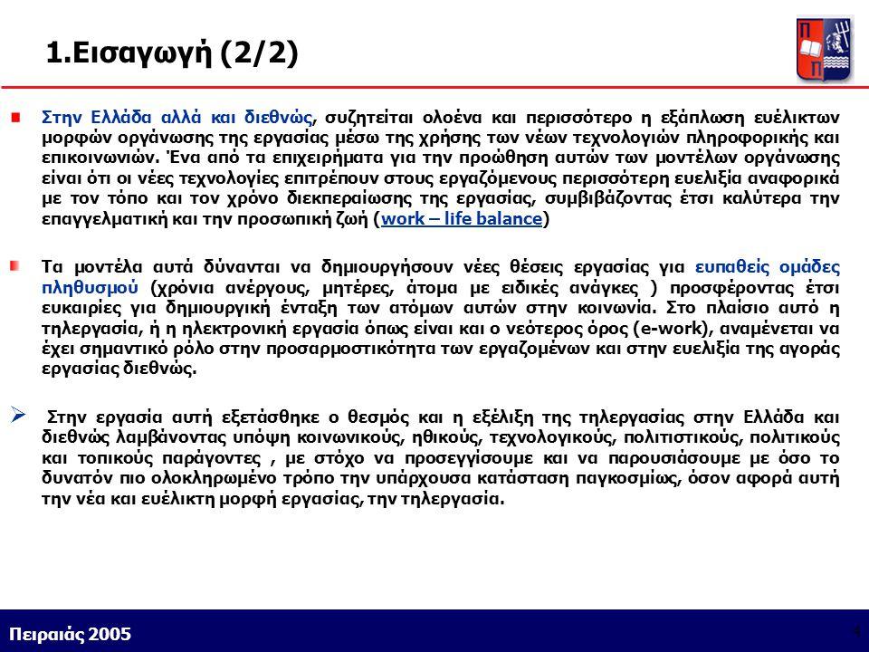 Athens 9/1/2004 Miltiadis D. Lytras Πειραιάς 2005 4 1.Εισαγωγή (2/2) Στην Ελλάδα αλλά και διεθνώς, συζητείται ολοένα και περισσότερο η εξάπλωση ευέλικ