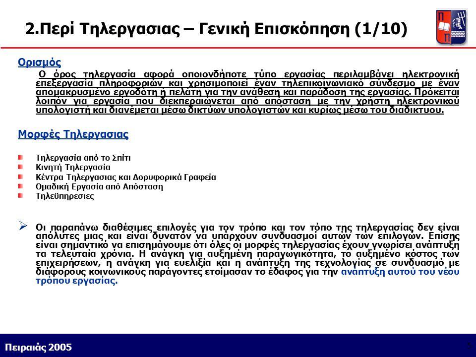 Athens 9/1/2004 Miltiadis D. Lytras Πειραιάς 2005 5 2.Περί Τηλεργασιας – Γενική Επισκόπηση (1/10) Ορισμός Ο όρος τηλεργασία αφορά οποιονδήποτε τύπο ερ