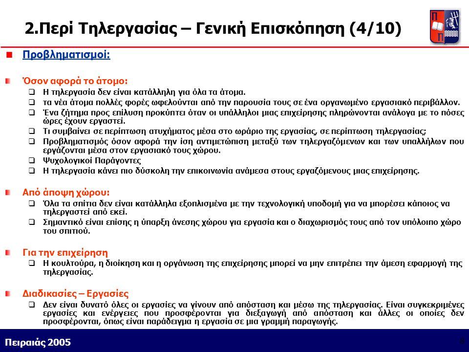 Athens 9/1/2004 Miltiadis D. Lytras Πειραιάς 2005 8 2.Περί Τηλεργασίας – Γενική Επισκόπηση (4/10) Προβληματισμοί: Όσον αφορά το άτομο:  Η τηλεργασία