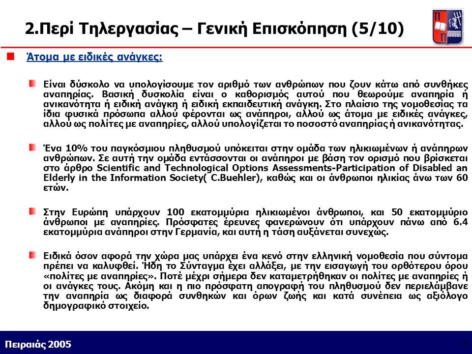 Athens 9/1/2004 Miltiadis D. Lytras Πειραιάς 2005 9 2.Περί Τηλεργασίας – Γενική Επισκόπηση (5/10) Άτομα με ειδικές ανάγκες: Είναι δύσκολο να υπολογίσο