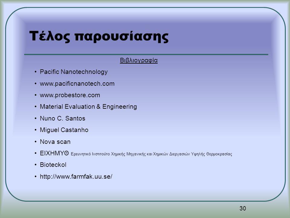 30 Τέλος παρουσίασης Βιβλιογραφία Pacific Nanotechnology www.pacificnanotech.com www.probestore.com Material Evaluation & Engineering Nuno C. Santos M