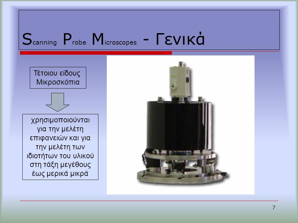 S canning P robe M icroscopes - Γενικά 7 χρησιμοποιούνται για την μελέτη επιφανειών και για την μελέτη των ιδιοτήτων του υλικού στη τάξη μεγέθους έως μερικά μικρά Τέτοιου είδους Μικροσκόπια