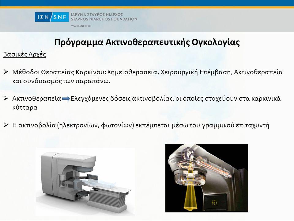 Πρόγραμμα Ακτινοθεραπευτικής Ογκολογίας Βασικές Αρχές  Μέθοδοι Θεραπείας Καρκίνου: Χημειοθεραπεία, Χειρουργική Επέμβαση, Ακτινοθεραπεία και συνδυασμός των παραπάνω.