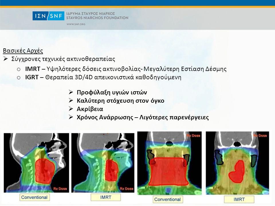 Βασικές Αρχές  Σύγχρονες τεχνικές ακτινοθεραπείας o IMRT – Υψηλότερες δόσεις ακτινοβολίας- Μεγαλύτερη Εστίαση Δέσμης o IGRT – Θεραπεία 3D/4D απεικονιστικά καθοδηγούμενη  Προφύλαξη υγιών ιστών  Καλύτερη στόχευση στον όγκο  Aκρίβεια  Χρόνος Ανάρρωσης – Λιγότερες παρενέργειες