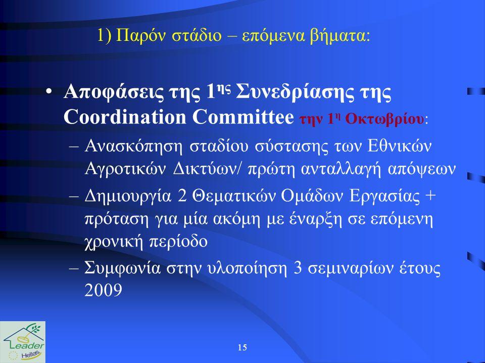15 1) Παρόν στάδιο – επόμενα βήματα: Αποφάσεις της 1 ης Συνεδρίασης της Coordination Committee την 1 η Οκτωβρίου: –Ανασκόπηση σταδίου σύστασης των Εθνικών Αγροτικών Δικτύων/ πρώτη ανταλλαγή απόψεων –Δημιουργία 2 Θεματικών Ομάδων Εργασίας + πρόταση για μία ακόμη με έναρξη σε επόμενη χρονική περίοδο –Συμφωνία στην υλοποίηση 3 σεμιναρίων έτους 2009