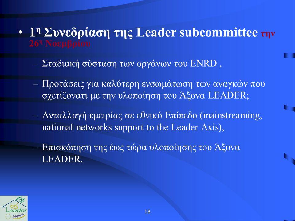 18 1 η Συνεδρίαση της Leader subcommittee την 26 η Νοεμβρίου –Σταδιακή σύσταση των οργάνων του ENRD, –Προτάσεις για καλύτερη ενσωμάτωση των αναγκών που σχετίζονατι με την υλοποίηση του Άξονα LEADER; –Ανταλλαγή εμειρίας σε εθνικό Επίπεδο (mainstreaming, national networks support to the Leader Axis), –Επισκόπηση της έως τώρα υλοποίησης του Άξονα LEADER.
