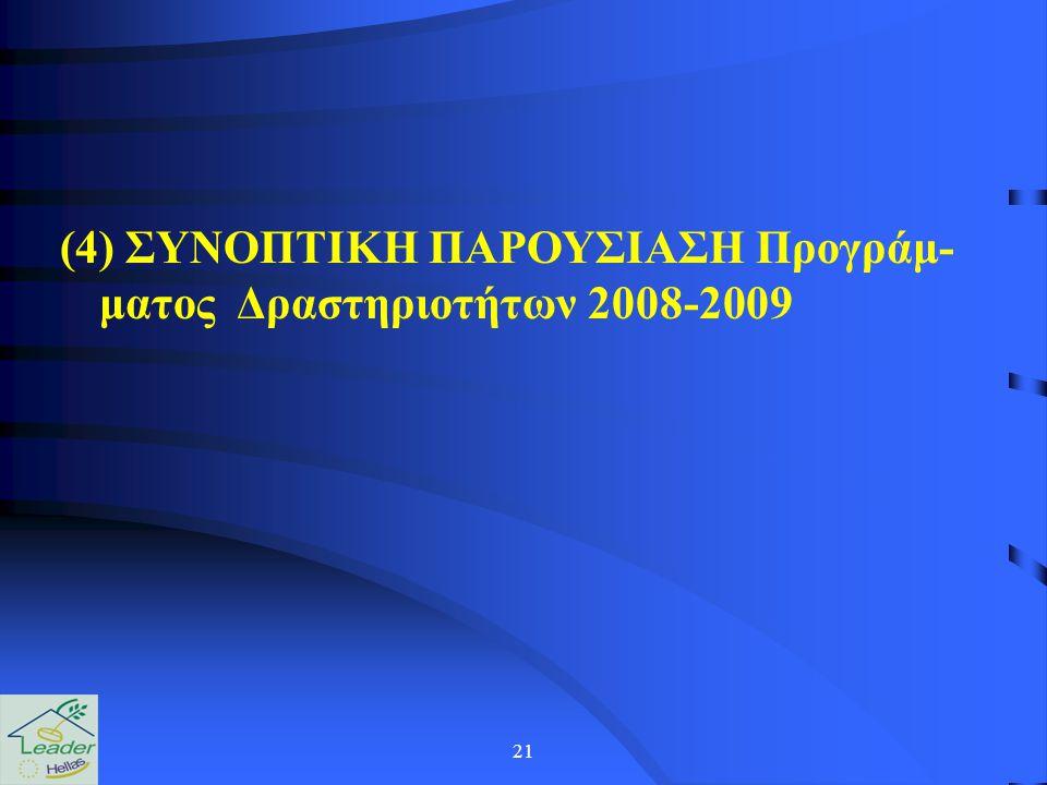 21 (4) ΣΥΝΟΠΤΙΚΗ ΠΑΡΟΥΣΙΑΣΗ Προγράμ- ματος Δραστηριοτήτων 2008-2009