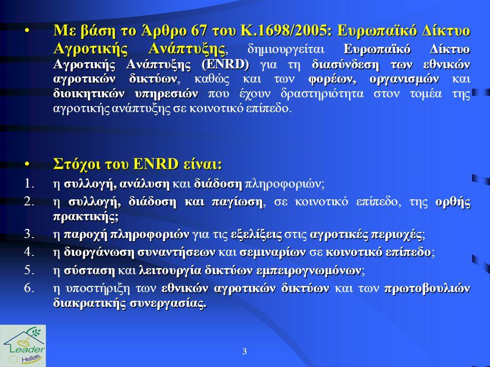 3 Με βάση το Άρθρο 67 του Κ.1698/2005: Ευρωπαϊκό Δίκτυο Αγροτικής Ανάπτυξης Ευρωπαϊκό Δίκτυο Αγροτικής Ανάπτυξης (ENRD)διασύνδεση των εθνικών αγροτικώ