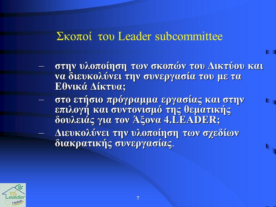 7 Σκοποί του Leader subcommittee –στην υλοποίηση των σκοπών του Δικτύου και να διευκολύνει την συνεργασία του με τα Εθνικά Δίκτυα; –στο ετήσιο πρόγραμμα εργασίας και στην επιλογή και συντονισμό της θεματικής δουλειάς για τον Άξονα 4.LEADER; –Διευκολύνει την υλοποίηση των σχεδίων διακρατικής συνεργασίας –Διευκολύνει την υλοποίηση των σχεδίων διακρατικής συνεργασίας.