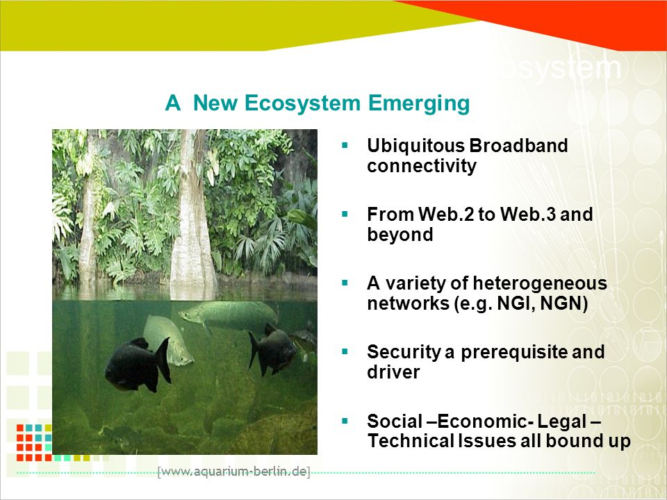 A Next Generation Network Ecosystem  Ubiquitous Broadband connectivity  From Web.2 to Web.3 and beyond  A variety of heterogeneous networks (e.g.
