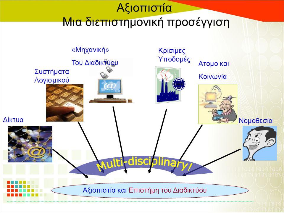 Αξιοπιστία Μια διεπιστημονική προσέγγιση Αξιοπιστία και Επιστήμη του Διαδικτύου Δίκτυα Συστήματα Λογισμικού «Μηχανική» Του Διαδικτύου Νομοθεσία Ατομο