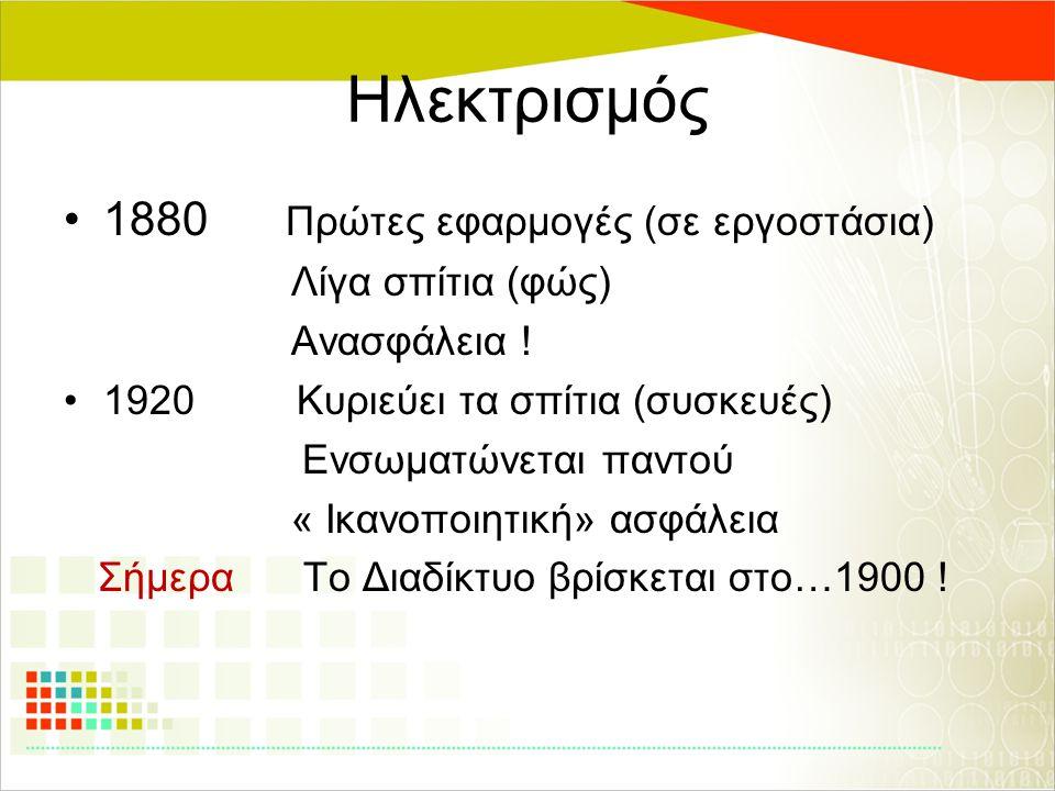 Ηλεκτρισμός 1880 Πρώτες εφαρμογές (σε εργοστάσια) Λίγα σπίτια (φώς) Ανασφάλεια ! 1920 Κυριεύει τα σπίτια (συσκευές) Ενσωματώνεται παντού « Ικανοποιητι