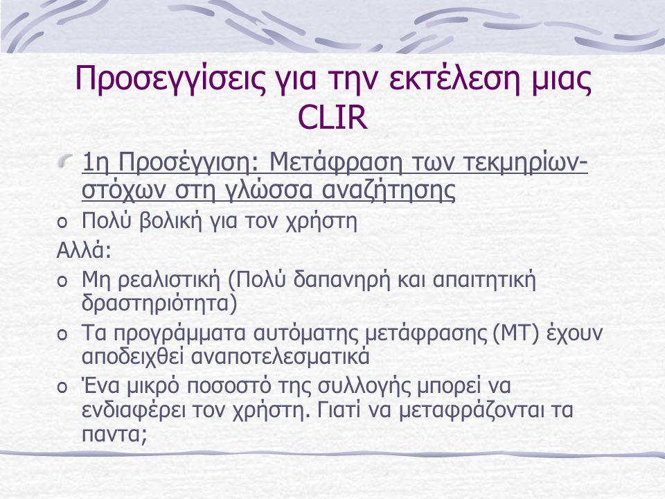 Αναγκαιότητα της CLIR Ο χρήστης πρέπει να έχει πρόσβαση σε όσο το δυνατόν περισσότερες πληροφορίες, χωρίς η γλώσσα ν' αποτελεί φραγμό Ο δημιουργός πρέπει να κάνει τις εργασίες του, απόψεις, ιδέες του κλπ.