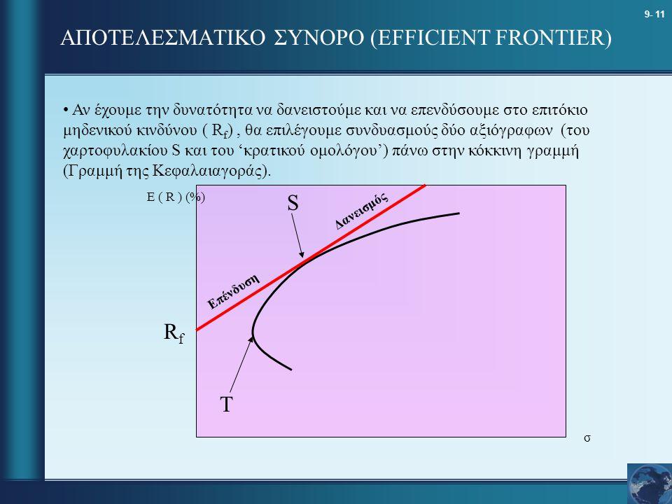 9- 11 ΑΠΟΤΕΛΕΣΜΑΤΙΚΟ ΣΥΝΟΡΟ (EFFICIENT FRONTIER) σ E ( R ) (%) Αν έχουμε την δυνατότητα να δανειστούμε και να επενδύσουμε στο επιτόκιο μηδενικού κινδύ