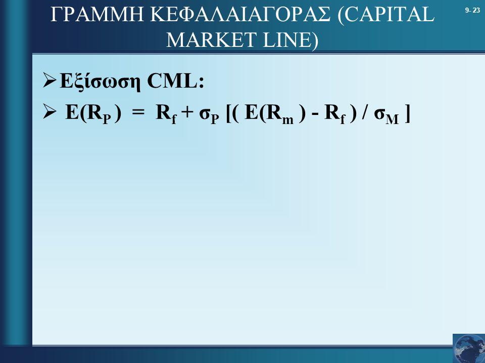 9- 23 ΓΡΑΜΜΗ ΚΕΦΑΛΑΙΑΓΟΡΑΣ (CAPITAL MARKET LINE)  Εξίσωση CML:  Ε(R Ρ ) = R f + σ Ρ [( Ε(R m ) - R f ) / σ Μ ]