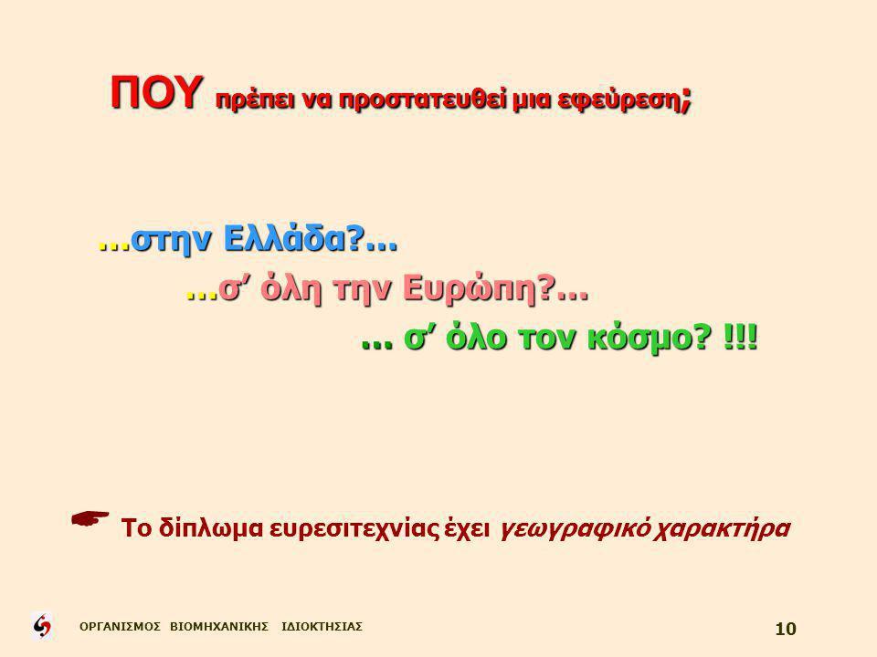 ΟΡΓΑΝΙΣΜΟΣ ΒΙΟΜΗΧΑΝΙΚΗΣ ΙΔΙΟΚΤΗΣΙΑΣ 10 …στην Ελλάδα … …σ' όλη την Ευρώπη … … σ' όλο τον κόσμο.