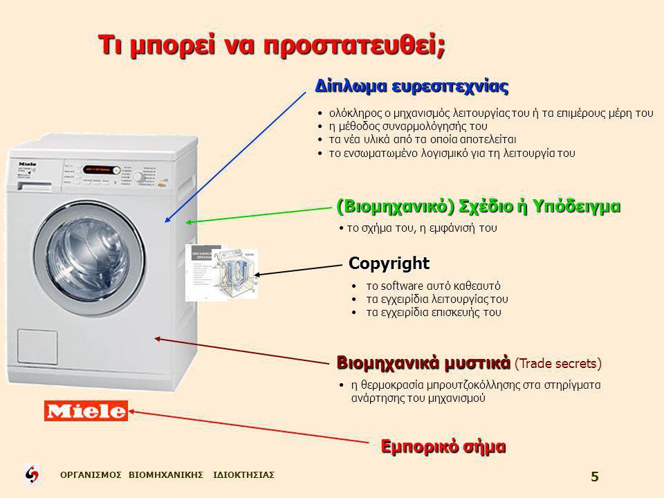 ΟΡΓΑΝΙΣΜΟΣ ΒΙΟΜΗΧΑΝΙΚΗΣ ΙΔΙΟΚΤΗΣΙΑΣ 5 Τι μπορεί να προστατευθεί; Δίπλωμα ευρεσιτεχνίας (Βιομηχανικό) Σχέδιο ή Υπόδειγμα Copyright Copyright Εμπορικό σήμα Βιομηχανικά μυστικά Βιομηχανικά μυστικά (Trade secrets) ολόκληρος ο μηχανισμός λειτουργίας του ή τα επιμέρους μέρη του η μέθοδος συναρμολόγησής του τα νέα υλικά από τα οποία αποτελείται το ενσωματωμένο λογισμικό για τη λειτουργία του το σχήμα του, η εμφάνισή του το software αυτό καθεαυτό τα εγχειρίδια λειτουργίας του τα εγχειρίδια επισκευής του η θερμοκρασία μπρουτζοκόλλησης στα στηρίγματα ανάρτησης του μηχανισμού