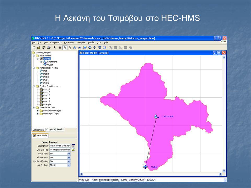 Η Λεκάνη του Τσιμόβου στο HEC-HMS