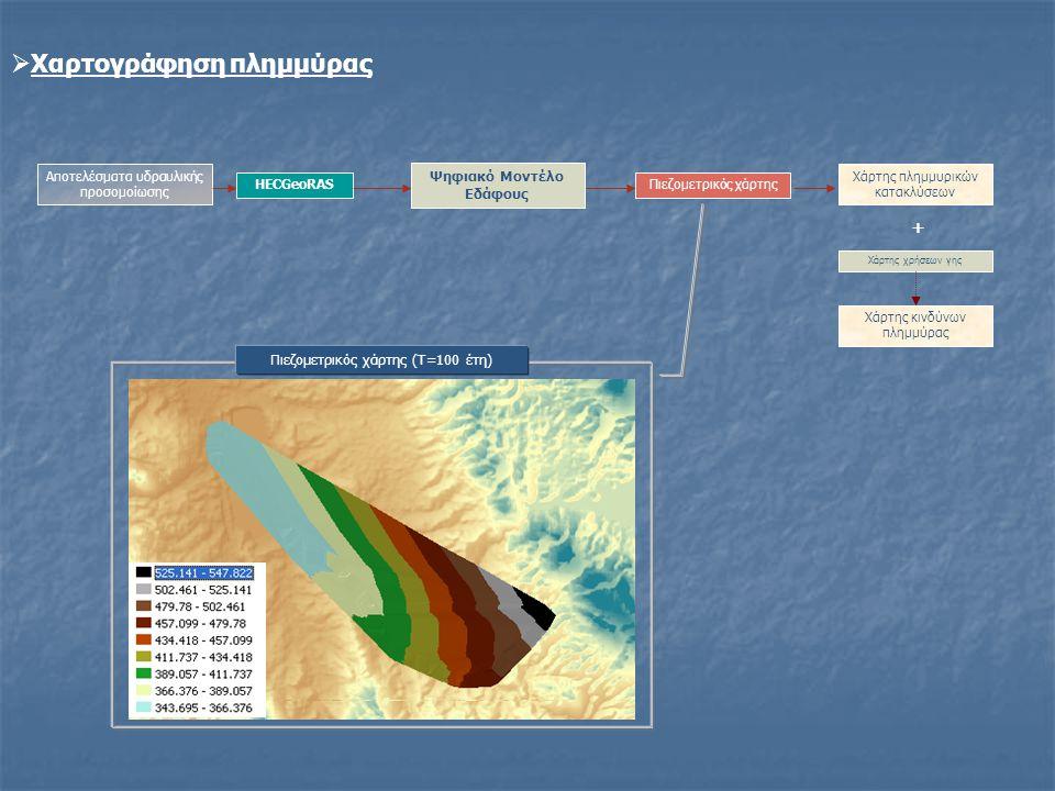 Ψηφιακό Μοντέλο Εδάφους Αποτελέσματα υδραυλικής προσομοίωσης Πιεζομετρικός χάρτης Χάρτης πλημμυρικών κατακλύσεων Χάρτης κινδύνων πλημμύρας Χάρτης χρήσ