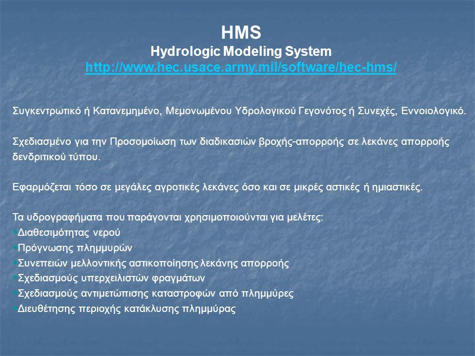 HMS (2) Hydrologic Modeling System http://www.hec.usace.army.mil/software/hec-hms/ Ένα μοντέλο λεκάνης κατασκευάζεται με το διαχωρισμό του υδρολογικού κύκλου σε συνιστώσες και με ορισμό οριακών συνθηκών σε αυτή Κάθε συνιστώσα του υδρολογικού κύκλου αναπαρίσταται με ένα μαθηματικό μοντέλο Στις περισσότερες περιπτώσεις είναι αρκετές οι επιλογές του χρήστη για την προσομοίωση της κάθε συνιστώσας.