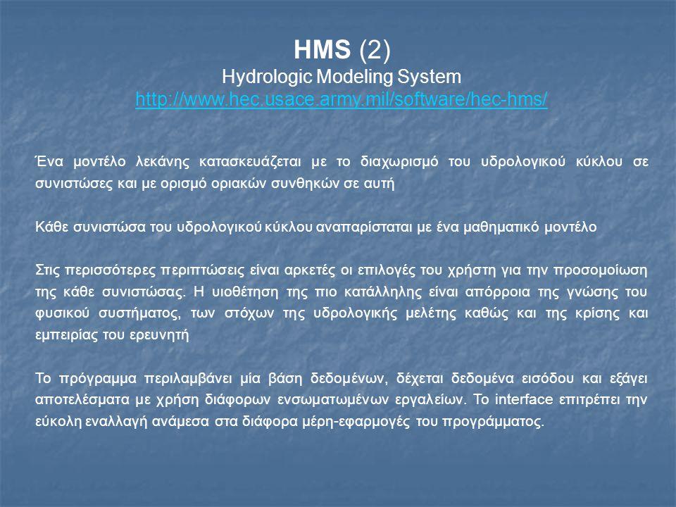 HMS (2) Hydrologic Modeling System http://www.hec.usace.army.mil/software/hec-hms/ Ένα μοντέλο λεκάνης κατασκευάζεται με το διαχωρισμό του υδρολογικού