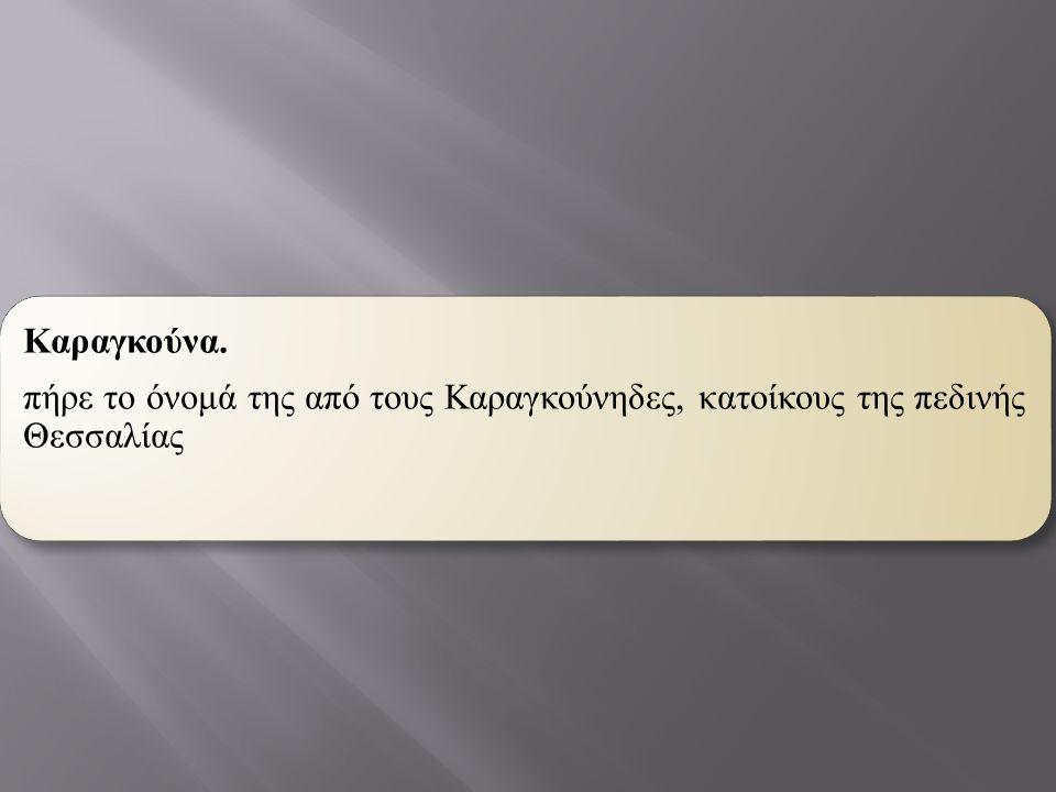 Καραγκούνα. πήρε το όνομά της από τους Καραγκούνηδες, κατοίκους της πεδινής Θεσσαλίας