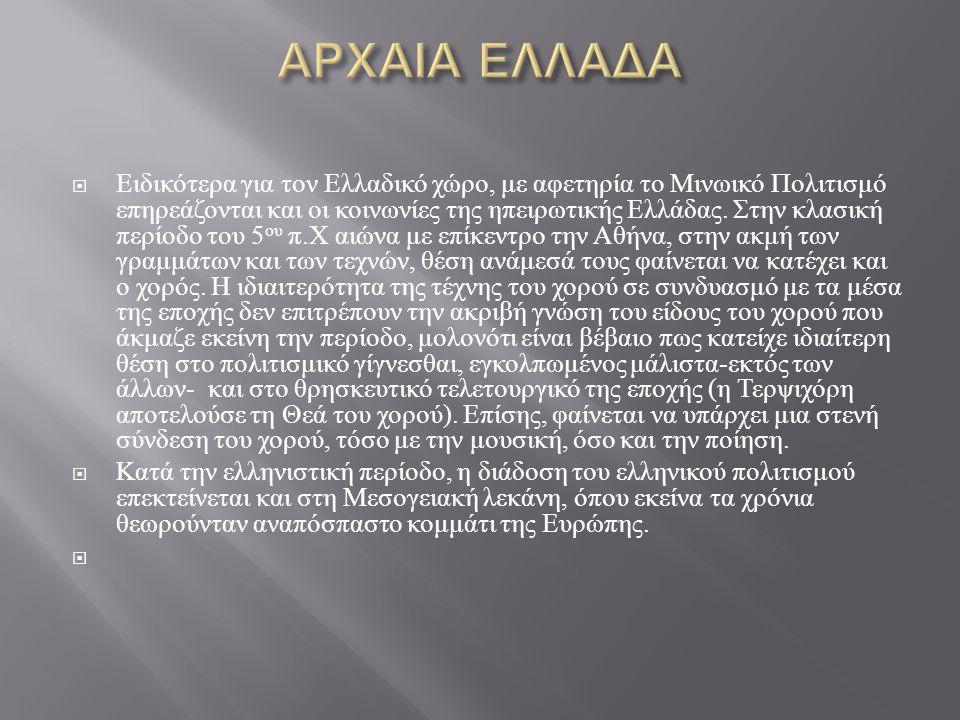 Οι παραδοσιακοί ελληνικοί χοροί χωρίζονται :  Ανάλογα με το θέμα τους σε : · Θρησκευτικούς · Πολεμικούς ή πυρρίχιους · Ερωτικούς · Πόλεμο - ερωτικούς χορούς  Ανάλογα με το σχήμα τους σε : · Κυκλικούς · Αντικριστούς χορούς  Ανάλογα με το φύλλο σε : · Ανδρικούς · Γυναικείους · Μικτούς  Ανάλογα με τον τόπο σε : · Πανελλήνιους ή εθνικούς · Τοπικούς …..